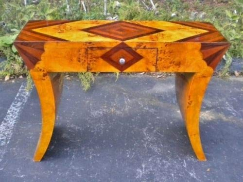 Desk Deco Rosewood Art - Inlaid Art Deco Style Table Console Maple/Rosewood