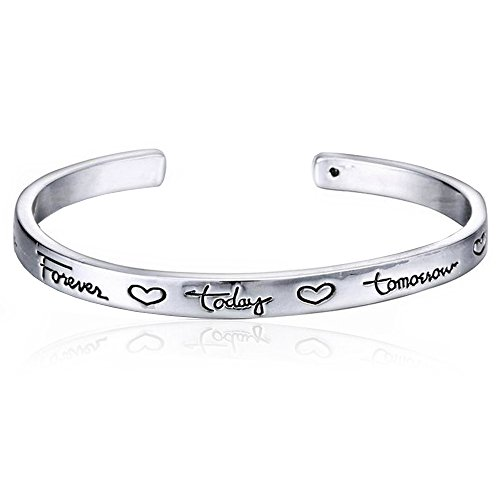 "(Luvalti ""Friends Forever Today Tomorrow Always"" Engraved Bracelet - Friendship Jewelry)"