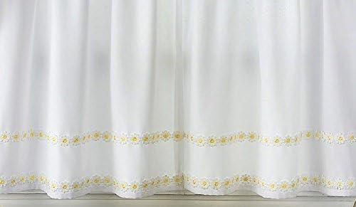 Ben Jonah Simple Elegance by Ben Jonah Faux Linen Daisy Floral Applique Kitchen Curtain Tier Pair 56 W x 36 L , Yellow