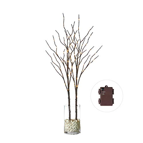 Hairui Lighted Willow Branches Brown with Fairy Lights Decor 32in 100LED, Pre lit Artificial Twig Branch Lights with Timer for Indoor Home Decoration Battery Operated 2 Pack (Vase Excluded)]()