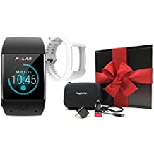 Polar M600 (Black) Gift Box Bundle | Includes Extra Silicone Band (White), PlayBetter USB Car & Wall Charging Adapters, Hard Case | GPS Sports Smart Watch, Wrist HR | Black Gift Box, Red Bow
