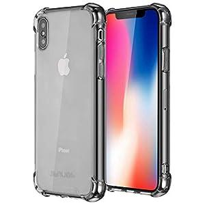 Jenuos Coque iPhone X, Coque iPhone XS, Transparent Doux Souple Extrêmement Fin Housse TPU Silicone Etui pour iPhone XS…