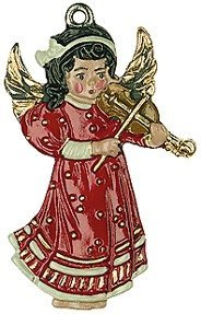Angel with Violin - German Pewter Christmas Tree Ornament