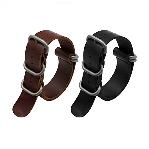 2pc 20mm Nato Ss Leather Strap Black , Brown Leather Replacement Watch Strap with silver clasp