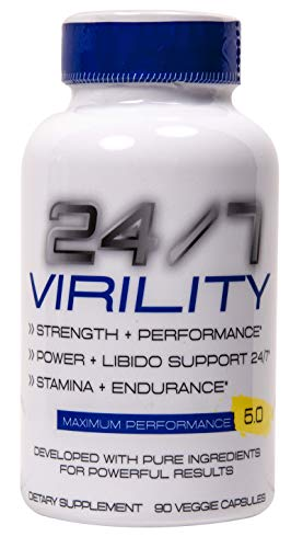 24/7 Virility Testosterone Booster - Improved Increase Energy, Endurance Best Stamina Physical Performance Product with Horny Goat Weed, maca, and tribulus 90 Veg Cap Pentlab
