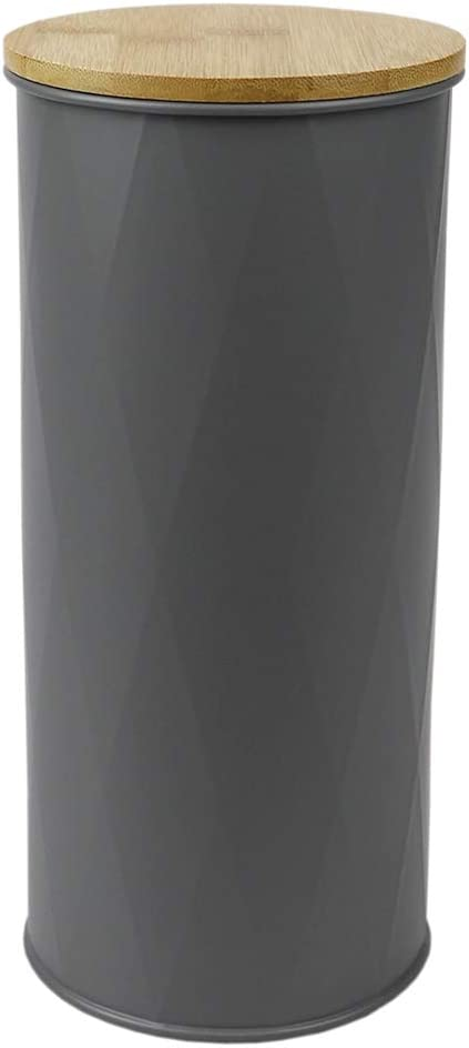 Home Basics Tin Canister with Bamboo Lid (1, 2.2 ml)
