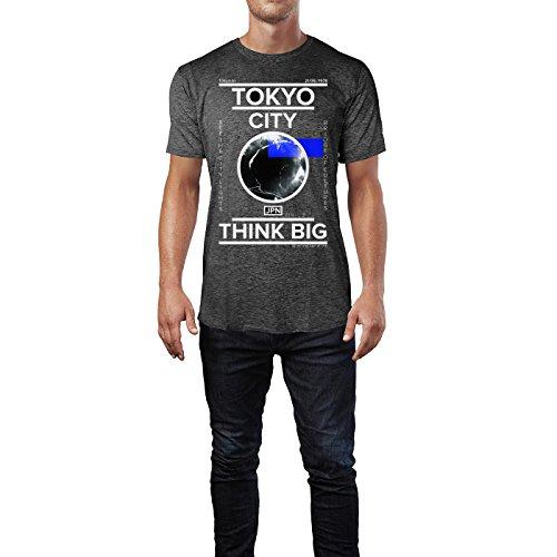 SINUS ART ® Tokyo City – Think Big Herren T-Shirts in dunkelgrau Fun Shirt mit tollen Aufdruck