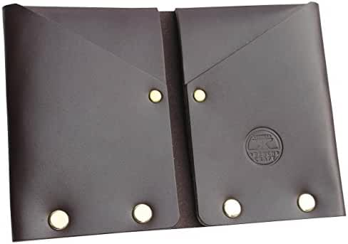 American Bench Craft Men's Slim Front Pocket Wallet in Brown Riveted Leather