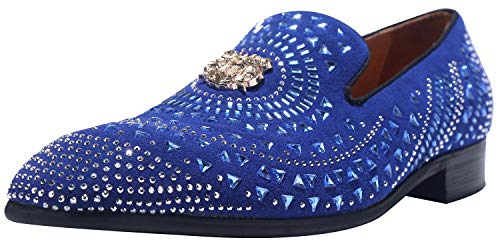 ELANROMAN Men Loafers Velvet Dress Suede Leather Shoes Slip-on Flat Slippers with Gold Metal Snake Print Black Fashion Smoking Slippers Work Party Shoes for ()