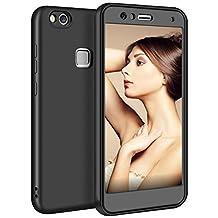 Huawei P10 Lite Case, Aemotoy Huawei P10 Lite Case Ultra Slim Fit 360 Degree Full Body Protection Cover Fingerprint Resistant Soft Flexible Matte TPU Case for Huawei P10 Lite - Black