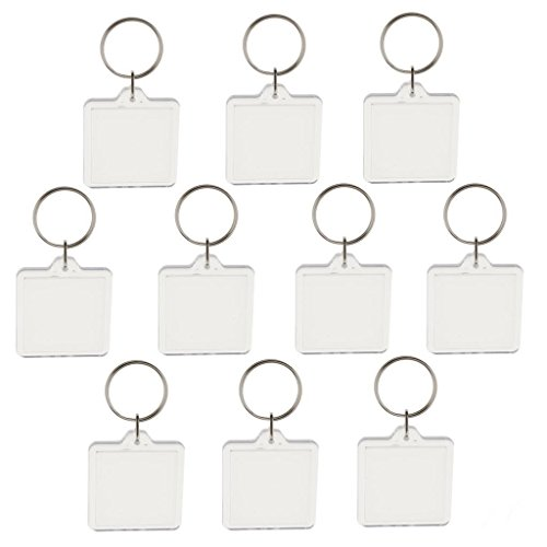 oppstore 10pcs Blank Clear Acrylic Keyrings Size 33mm Photo Insert Craft Square Key Chain Great For Ideal Personalised Gift by oppstore