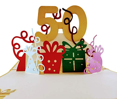 iGifts And Cards Happy 50th Birthday With Lots of Presents 3D Pop Up Greeting Card - Awesome, Cute, Fun, Unique, Special Occasion, Half-Fold, Celebration, Husband, Wife, Best Friend, ()
