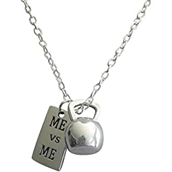 Kettlebell Necklace Me Vs Me By Thimbleful Threads, Fitness Jewelry, Fitness, Gym, Bodybuilding