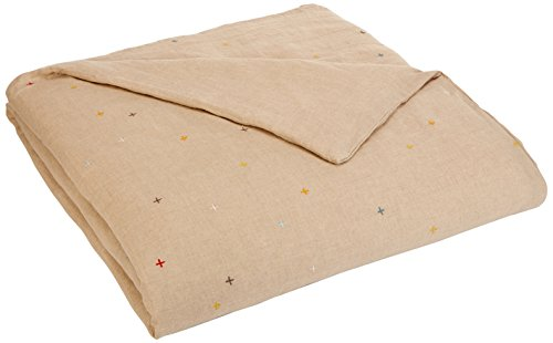 Undyed Linen - Coyuchi Scattered Embroidered Linen Duvet, Full/Queen, Undyed Linen w/Multi