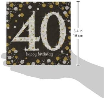 2X33 cm Gold Celebration 40th Luncheon Napkins
