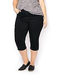 Penningtons Womens Plus Size d/c JEANS Straight Leg Denim Capri Black 18