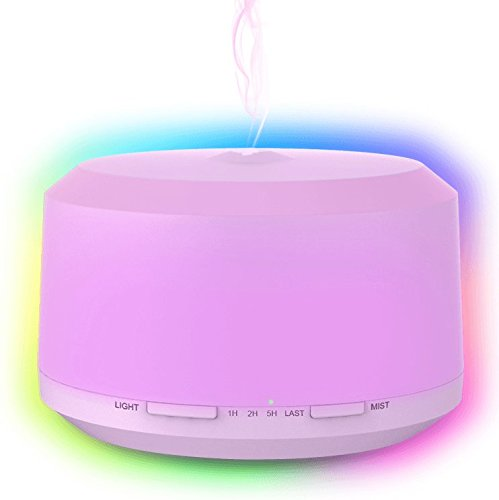 Large Product Image of Aromatherapy Essential Oil Diffuser, 450ml Diffuser Set Ultrasonic Cool Mist Humidifier With 8 Color LED Lights,Waterless Auto Shut-off And 4 Mist Mode For Yoga Baby And Christmas Gifts By Neloodony