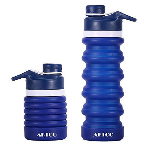 - AKTOO Dark Blue BPA Free Collapsible Silicone Water Bottle FDA Approved Leak Proof Sports Bottles Portable Foldable Reusable Retractable Coffee Cup for Traveling,Camping,Hiking,Running,Walking,20oz