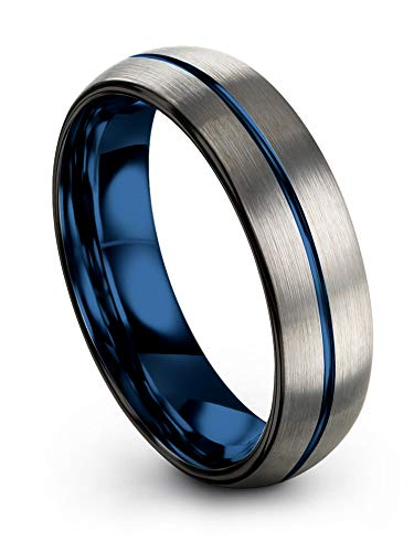 Chroma Color Collection Tungsten Carbide Wedding Band Ring 6mm for Men Women Blue Interior with Blue Center Line Dome Black Grey Brushed Polished Comfort Fit Anniversary Size 4 ()