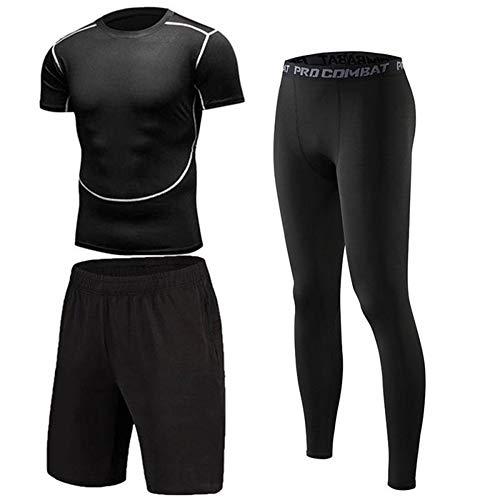 (Bsadne 3 Men's Fitness Suit, Sportswear, Bottom Shirts + Loose Shorts + Tight Pants for Running (Short Suit, XL))