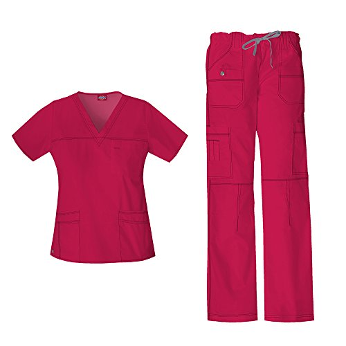 Dickies Women's Gen Flex Junior Fit 'Youtility' Top 817455 & Low Rise Drawstring Cargo Pant 857455 Scrub Set (Crimson - Small) by Dickies