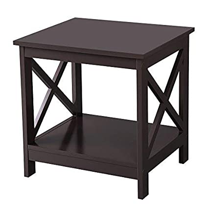 End Table Display ShelvesEspresso 2 Side Ulet01br Sofa Design With Songmics X TablesWooden A4q35RjL