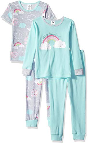 (Gerber Girls' 4-Piece Pajama Set, Happy Rainbow)