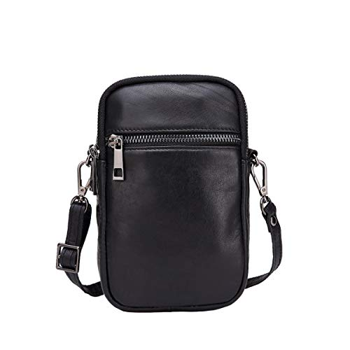 (Neverout Cow Split Leather Cell Phone Purse Crossbody Shouder Bag for Women NP2348 (Black))