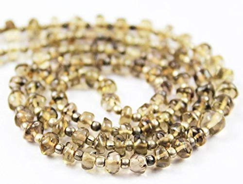 Beads Bazar Natural Beautiful jewellery Natural Smoky Quartz Faceted Gemstone Micro Rondelle Loose Craft Beads Starnd 18