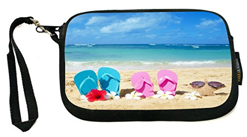 UKBK Pink Yellow Flip Flops Starfish Red and White Flowers Neoprene Clutch Wristlet with Safety Closure - Ideal case for Camera, Universal Cell Phone Case (Flip Flop Purses)