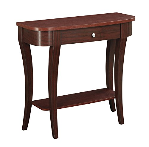 Malibu Living Room Sofa - Convenience Concepts Modern Newport Console Table, Mahogany