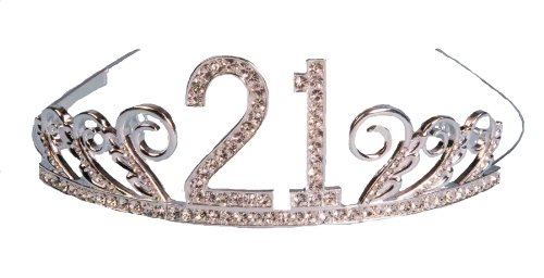 Forum Novelties Rhinestone Encrusted 21st Happy Birthday Tiara with Keepsake Box (21st Birthday Tiaras)