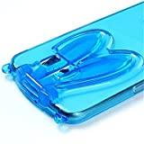 Fashion Cute Transparent Silicone Rabbit Ears Lanyard Back Stand Case Cover For Samsung Galaxy S4/S5/S6/S6 Edge/S6 Edge+ ( Color : Blue , Compatible Models : Galaxy S6 )