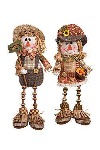 (Transpac Imports D0749 Plush Scarecrow Shelf Sitter Decor, Brown)