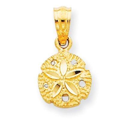 14k Gold Sand Dollar Charm - 14K Yellow Gold Sand Dollar Pendant - (0.59 in x 0.31 in)