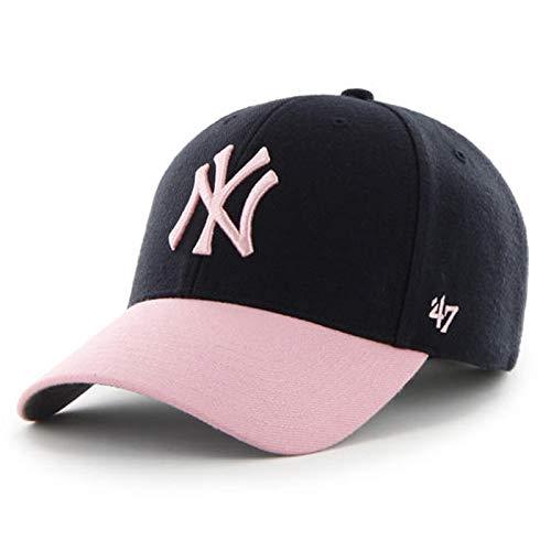 Two Tone Hat Cap - 47' Women's New York Yankees Two Tone Baseball Cap Hat (Navy Pink)