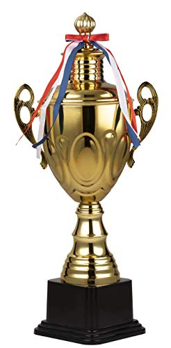 Juvale Trophy Cup - Gold Trophy, Award Supplies for Sport Tournaments, Competitions, Race, Game, Reward, Props, Prize, School, Company, Gold Oval Design, 8.5 x 5.75 x 19 - Sports Basketball Awards