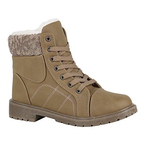 Stiefelparadies Unisex Worker Boots Herren Damen Stiefeletten Warm Gefütterte Stiefel Zipper Outdoor Schuhe Camouflage Booties Übergrößen Flandell Khaki Bexhill