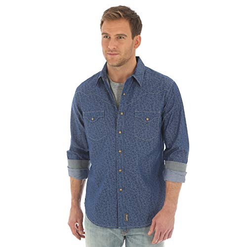 - Wrangler Men's Big & Tall Retro Two Pocket Long Sleeve Snap Shirt, Blue, Large Tall