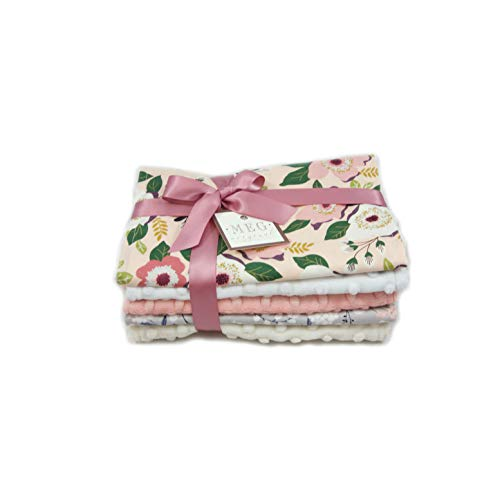 - Floral Baby Girl Burp Cloth Set of 5 MEG Original 1162