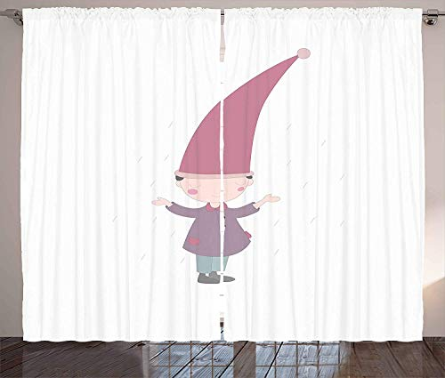 Kids Polyester Curtains with Holes, Little Cartoon Gnome Character Illustration with a Big Pink Hat Standing Under Rain,2 Panel Drapes/Window Treatment for Living Room/Bedroom,104 W x 63 L inches (Large 104' Screen)