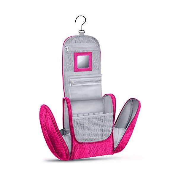 41Q6aa4 4eL Großer Premium Kulturbeutel zum Aufhängen mit Spiegel [Modell 2021] für Männer und Frauen I Geräumiger Kulturtasche…