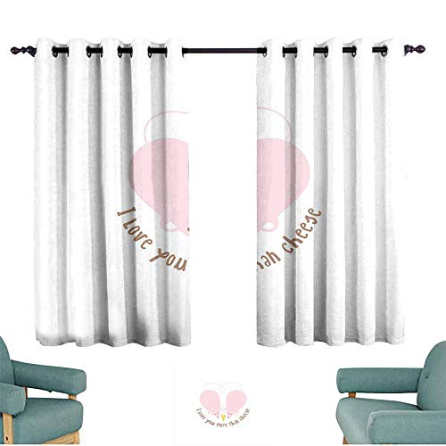 (Mannwarehouse I Love You More Privacy Curtain Pink Rats with Tangled Tails Forming a Heart Sweet Valentines Set of Two Panels 63