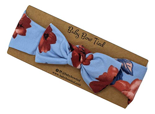 Handmade Baby Girl Blue Dusty Rose Knotted Bow ()