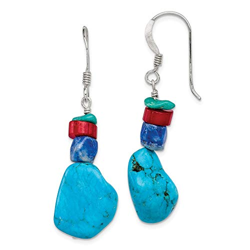 925 Sterling Silver Red Coral/howlite/lapis Blue Turquoise Drop Dangle Chandelier Earrings Fine Jewelry Gifts For Women For Her