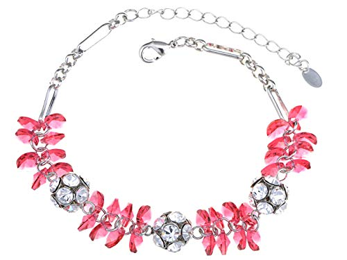 Silver Tone Clump Floral Cluster Berry New Crystal Element Bracelet Bangle