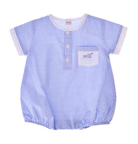 Carriage Boutique Baby Boy Hand Embroidered Creeper Romper - Blue Train (6M) ()