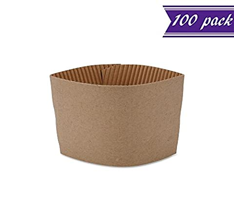 (Pack of 100) Disposable Paper Coffee Cup Sleeves, Protective Corrugated Reusable Holder, Cup Sleeve Fits Most Hot Cups, 8 oz. - 20 oz., - Fits 8 Ounce Cups