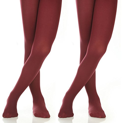 Silky Toes Girls' Microfiber Opaque Footed Tights- 2 Per Pack (Size: 6-8, Burgundy (2 Pairs)) ()