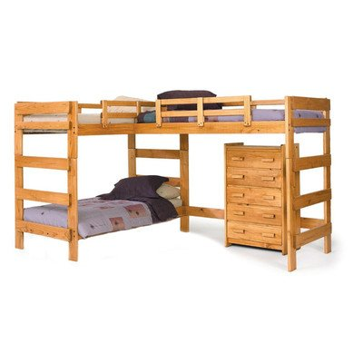 "Chelsea Home Furniture 3662008 L Shaped Loft Bed, 68"" H, Honey"